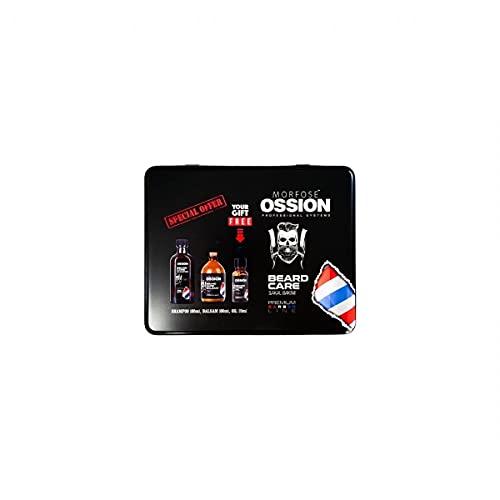 Morfose Ossion Premium Barber Line - Juego de champú, bálsamo y aceite de regalo en caja de metal