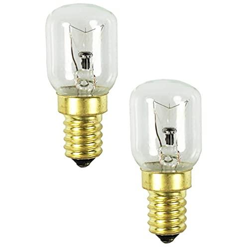 COM-FOUR® 2x Lámpara de horno hasta 300° C - Bombilla para el horno en la cocina - Bombilla de luz blanca cálida para estufa 25W, E14, 230V (02 piezas - 25W dorado)