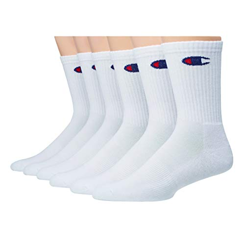 Champion Men's Double Dry Moisture Wicking Logo 6-Pack Crew Socks