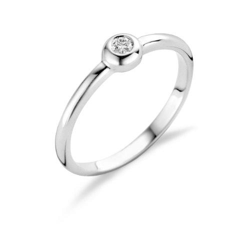 Miore Damen-Ring Solitär 925 Sterling Silber mit Brillant 0.06ct Gr. 54 MSL006RO