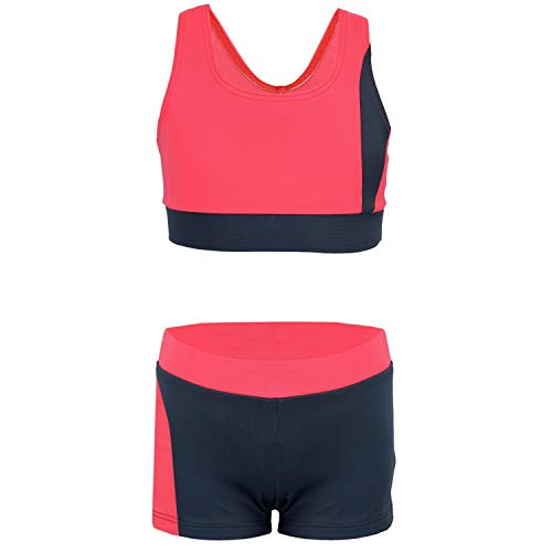 Aquarti Mädchen Sport Bikini - Racerback Bustier & Badehose, Farbe: Grau/Koralle, Größe: 134