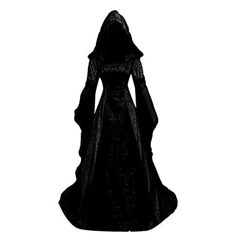 yooohoh Disfraz Medieval Vestido de Halloween para Adultos Vestido con Capucha Cosplay Disfraz de Bruja Vampiro