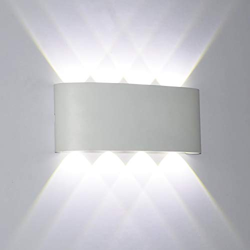 2* Applique Murale Interieur LED Noir LEDMO Lampe Murale LED 12W Blanc Froid 6000K Acrylique Moderne pour Chambre Salon Escalier Maison Couloir Salle de Bain H/ôtels