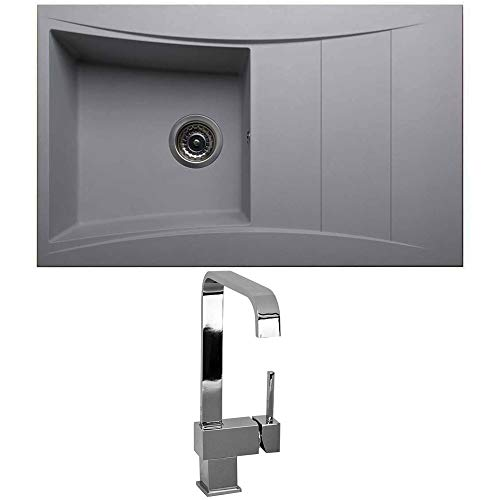 Astini Xeron 1.0 Bowl Grey SMC Synthetic Reversible Kitchen Sink, Waste & Tap