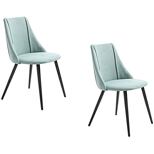 Multistore 2002 Lot de 2 chaises de Salle à Manger avec Pieds en métal et Assise en Tissu Vert