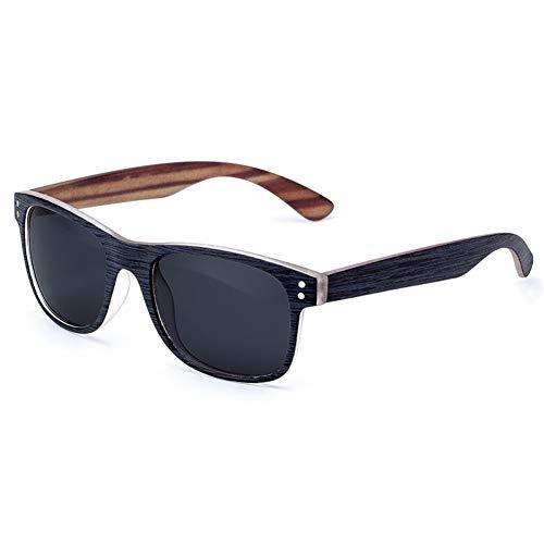 WAQWYQ Gafas Gafas de Sol para Hombre Polarized Classic Retro Square Gafas de Sol Negras Montura de imitación de Madera Lentes