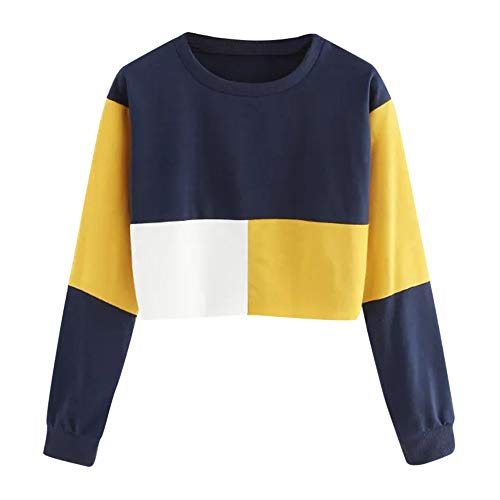 iHENGH Sweatshirt Damen,Women Herbst Casual Color Patchwork Sweatshirt Long Sleeve Short Pullover Tops Blouse Shirt Top (EU-34/CN-S, Gelb)