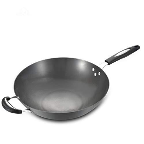 LKDF Wok E Padelle per Friggere, Padella Antiaderente Padella per Crepe Padelle Padella per Omelette Padella per Bistecca, Compatibile con Induzione, per Cucina,Round Bottom,36cm