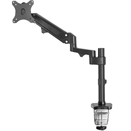 VIVO Heavy Duty Single 17 to 35 inch Monitor Pneumatic Spring Arm Stand, Aluminum Clamp-on Desk Mount, Fits 1 Screen, Max VESA 100x100, Black, STAND-V100G
