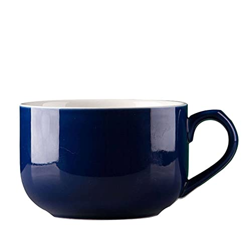 Tazones De Sopa De Cerámica Taza De Café Grande, Tazas De Sopa Con Asa Apto Para Microondas Y Lavavajillas Para Cereal Postre Ensalada Té Leche Avena-azul marino-750ML/25.4oz