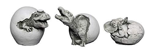 gartendekoparadies.de Lustiges Dinosaurier Set 3 Massive Steinfiguren Drachen Steinguss frostfest