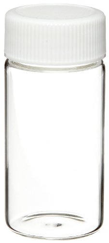Wheaton 986540 Borosilicate Glass 20mL Liquid Scintillation Vial, with 22-400 White Polypropylene Foamed Polyethylene Lined Screw Cap Attached (Case of 500)