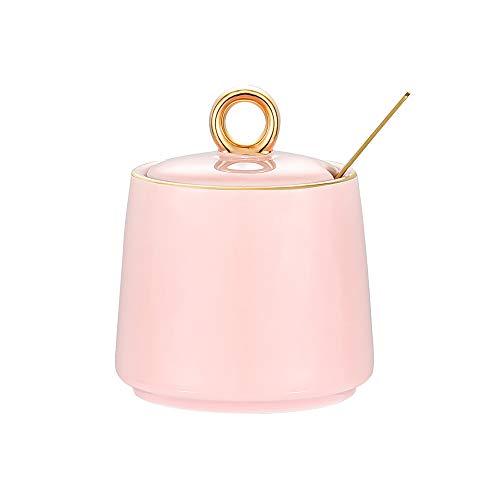 Zuccheriera dispenser sale contenitore ceramica zuccheriera con coperchio e cucchiaio per casa e cucina rosa