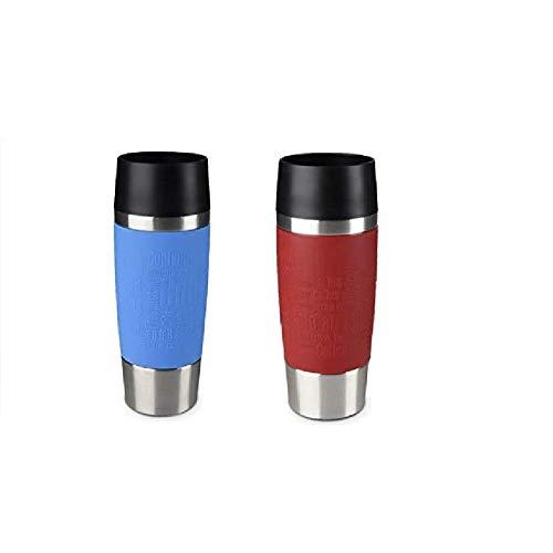 Emsa Standard-Design Travel Mugs, hellblau/rot, 2 x 360ml