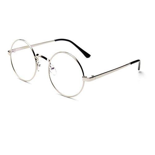 Lunettes Rondes Vintage,Covermason Fashion Eyeglass Vintage Frame Transparent Lunettes Retro uni Objectif Optique Verres Ronds Plats (B)