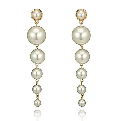 StrongAn Pendientes de perlas de moda Pendientes colgantes de boda elegantes de gota larga Vintage para mujer Regalos de joyería de moda Blanco