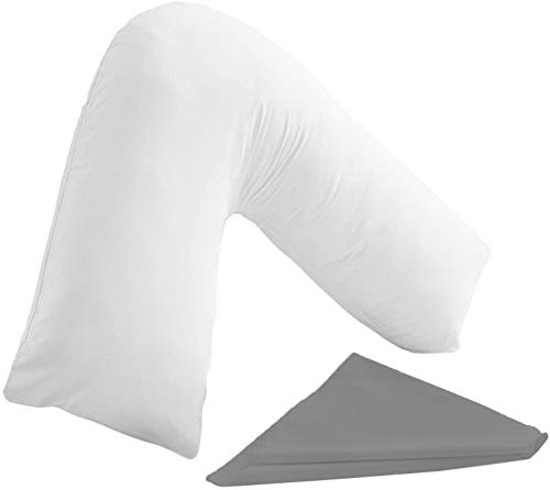 mTextile Orthopaedic V Shaped Support Pillow Nursing Pregnancy Back & Neck Support Pillow with Free Pillowcase - 22 Colours To Choose From (Grey)