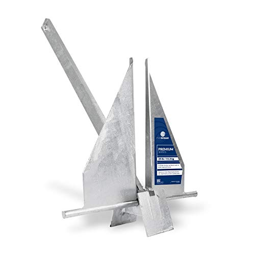 Five Oceans Traditional Danforth Style Fluke Hot Dipped Galvanized Steel Anchor, 25 LB (11.34 KG) FO-4448
