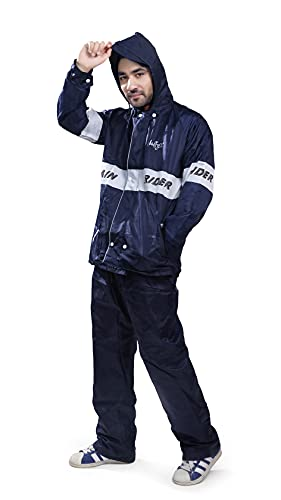 Bulfyss Double Layered Polyester Rain Coat Suit for Men 100% Waterproof for Bike Reversible Lightweight Raincoat with Adjustable Hood & Bottom Pants (Free Size, Blue)