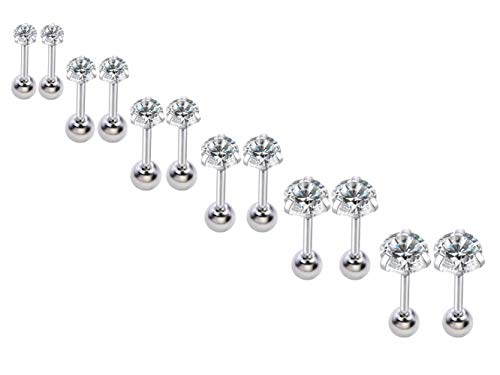 12Pcs 16gauge Tragus Studs Cartilage Earring Set Screw Backs Stainless Steel Ear Helix Piercing Jewelry 3-8mm