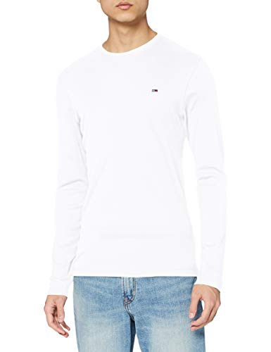 Tommy Jeans Original Rib Camisa, Blanco (Classic White 100), Large para Hombre