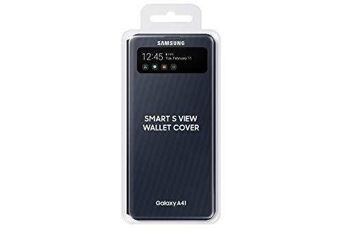 Samsung S View Smartphone Cover EF-EA415 für Galaxy A41, Handy-Hülle, stoßfest, Schutz Case, integriertes Sichtfenster schwarz