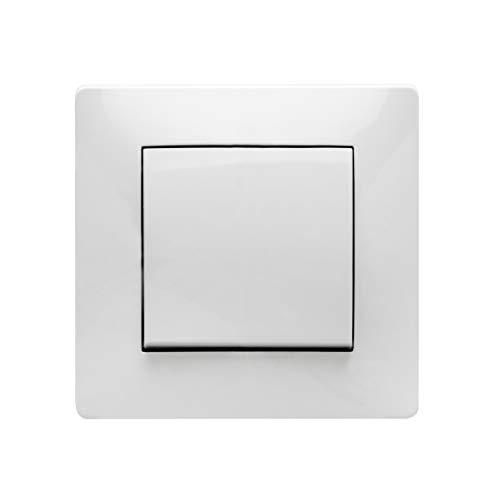 Famatel 9104 Cruzamiento | Interruptor de empotrar | Serie Habitat 15 encaja a la perfección | Completamente producto libre de halógenos | 10A | 250V | Blanco, 8,5x8,5x5cm