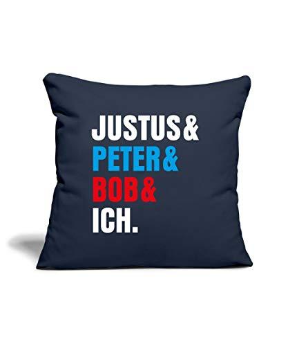 Spreadshirt Die DREI Fragezeichen Justus & Peter & Bob & Ich Sofakissenbezug 44 x 44 cm, Navy