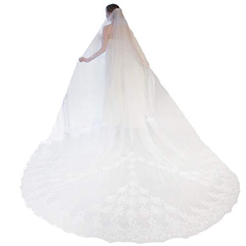 Velo Novia Una Sola Capa Velo Cola Larga Borde Encaje De Tul Suave con Peine Pelo 3M Elegante Cinta Simple Accesorios para El Cabello para Accesorios Vestido Novia Regalo Fiesta Matrimonio