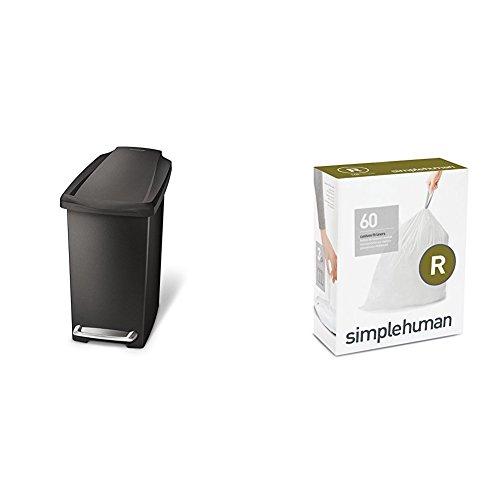 simplehuman 10 litre slim step can black plastic + code R 60 pack liners