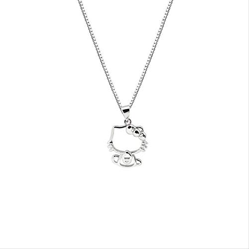 BACKZY MXJP Necklace Sterling Silver Hellokitty Necklace Simple Sweet Female Cartoon Katie Cat Clavicle Chain Fashion Student Jewelry Gift
