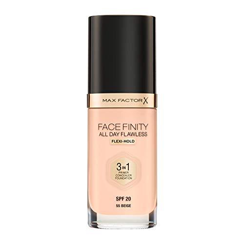 Max Factor FaceFinity 3 en 1 All Day Flawless Base de Maquillaje Tono 055 Beige - 30 ml