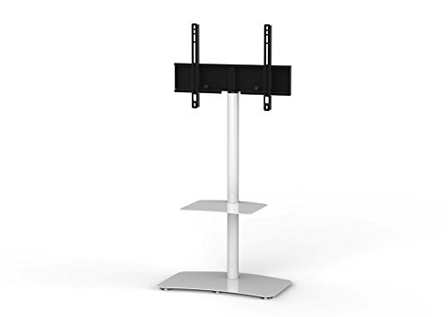 """SONOROUS PL-2810 Modern TV Floor Stand Mount/Bracket with Tempered Glass Shelf for Sizes up to 60"""" (Steel Construction) - White"""
