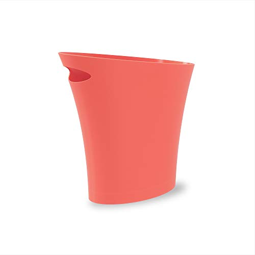 Umbra Skinny Coral Sleek amp Stylish Bathroom Trash Small Garbage Can Wastebasket for Narrow Spaces at Home or Office 2 Gallon Capacity Single Pack