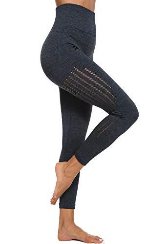 SEASUM dames yogabroek elastische panty sportlegging zwart S