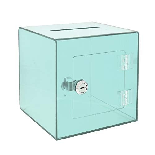 """AdirOffice 6"""" x 6'' Acrylic Ballot Box Donation Box with Easy Open Rear Door - Durable Acrylic Box with Lock - Ideal for Voting, Charity & Suggestion Collection - Crystal Green"""