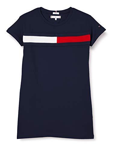 Tommy Hilfiger Mädchen Flag Jersey Dress S/s Kleid, Blau (Twilight Navy 654-860 C87), One Size (Herstellergröße: 74)