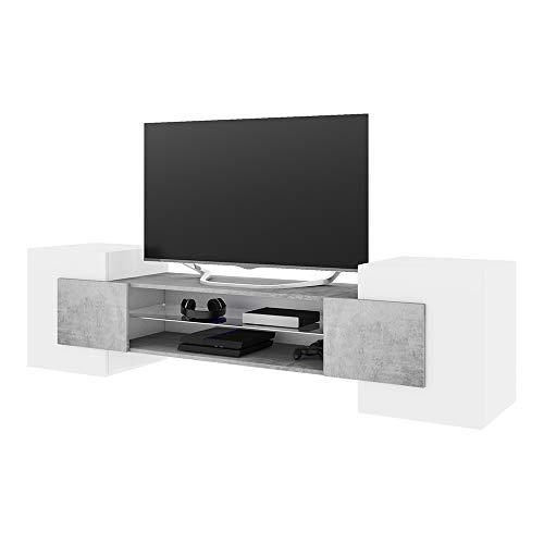 Selsey Gaelin – TV-Lowboard/Fernsehschrank Stehend Modern Ohne LED, Weiß/Betonoptik, 39 x 160 x 51 cm