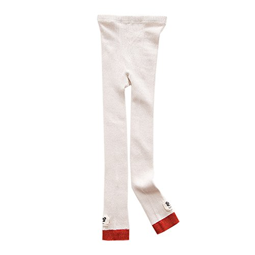 Elonglin – Calça legging infantil de algodão para meninas e crianças, calça de malha com estampa de desenho animado infantil leggings pernas de guerra meias cáqui e branco adequado para altura 95 cm (comprimento 52 cm)