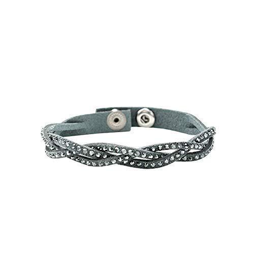 LA SENJA Handmade Dark Gray Bracelet for Women Girls Made with Swarovski Crystals Adjustable