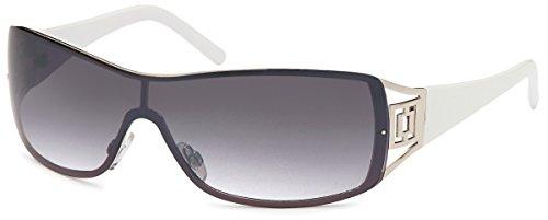 Sonnenbrille Monoscheiben Brille Damen Herren Sonnenbrillen Retro B552 Weiß