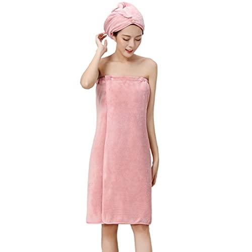 Toalha de banho, Unknows Women Coral Velvet Toalha de banho com botão de pressão Roupão de banho para cobrir o corpo