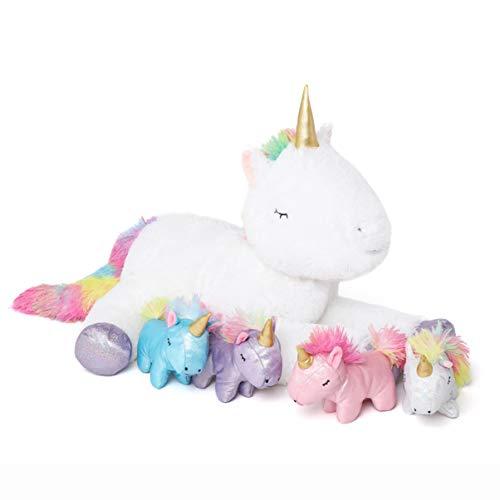 DOLDOA Stuffed Unicorn Animal for Girls Stuffed Mommy Unicorn with 4 Baby Unicorns in her Tummy Plush Cute Unicorn Toy for Kids