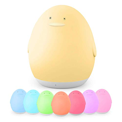 Vava - Luz nocturna para niños LED, lámpara USB en forma de pingüino con ojos, color regulable-blanco