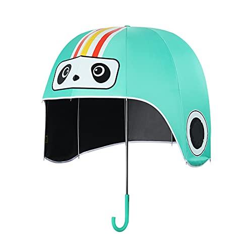 LJSF Paraguas a Prueba Viento, Paraguas de Casco para Niños Adultos, Paraguas Impermeable para el Casco de la Sombrera Solar, para Todas Las Actividades al Aire Libre,Verde,L