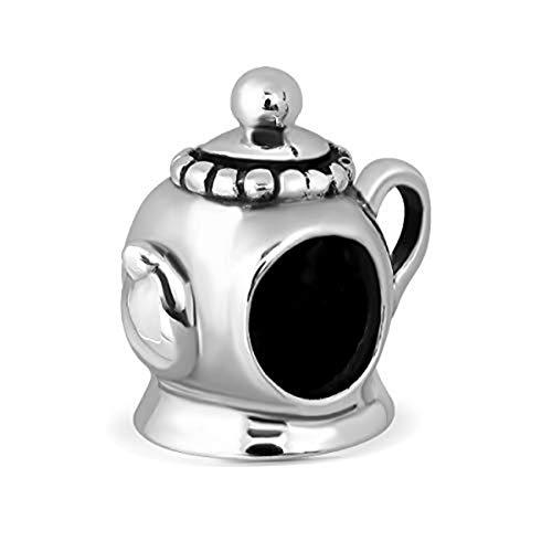 Sistakno Charm-Anhänger für Armband Sterling-Silber 925 süße Teekanne Nachmittagstee Kaffee
