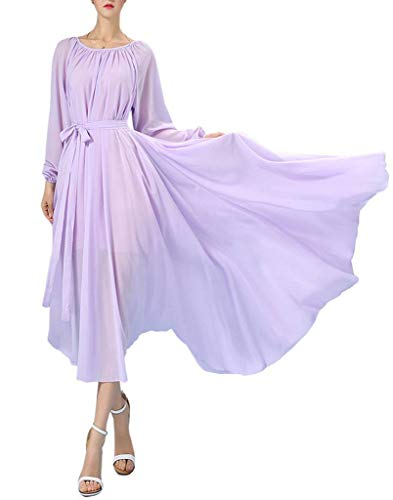 BUENOS NINOS Women's Long Sleeve Crew Neck Loose Chiffon Long Maxi Dress with Belt Lavender M
