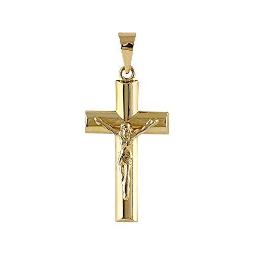 18K Gelbgold Kreuz Modell Cruces Durchschnitt Doppelrohrblatt Christus Maß: 21x12x3mm.