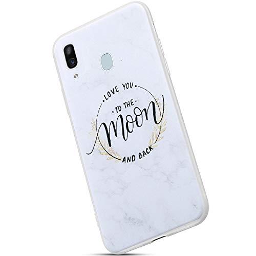 Saceebe Compatible avec Samsung Galaxy A40 Coque Ultra Mince Crystal Clear Housse de Protection avec Fleur Marbre Motif Dessin Étui Silicone Souple Clair Housse TPU Bumper,Lune