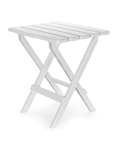 Camco Large Adirondack Portable Outdoor Folding Side Table - Perfect for The Beach, Camping, Picnics, Cookouts and More - Weatherproof and Rust Resistant - White (21041)